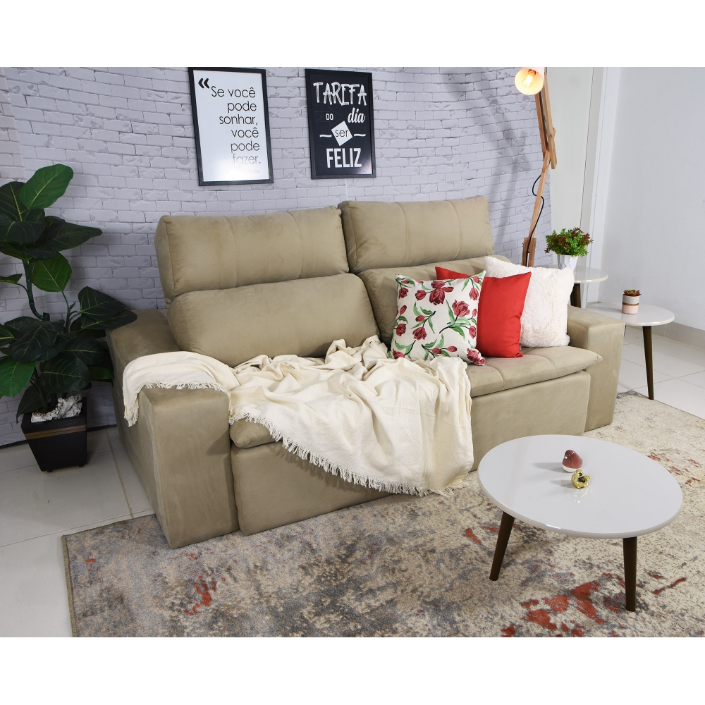 Foto 5 - Sofá 3 Lugares Connect Plus 2,10m com Pillow Retrátil e Reclinável Veludo Bege