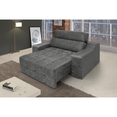 Poltrona Decorativa Connect Retrátil e Reclinável Suede Amassado Cinza