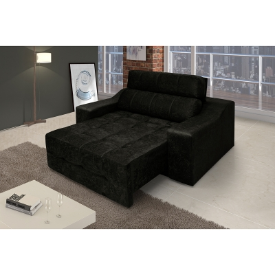 Poltrona Decorativa Connect Retrátil e Reclinável Suede Amassado Preto