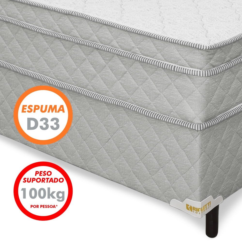 Foto 4 - Cama Box Casal de Molas Ensacadas com Espumas D28 e D33 Connect Pillow In (cama+box) - Cinza