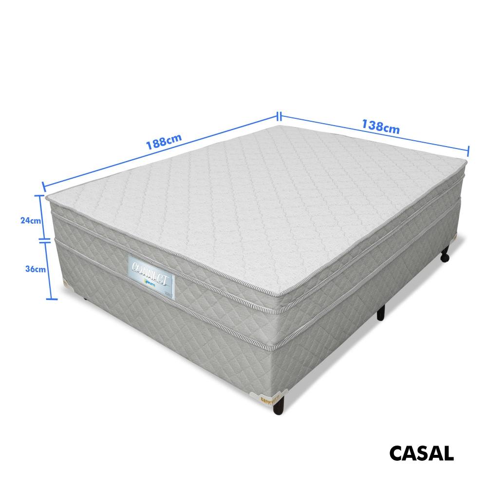 Foto 9 - Cama Box Casal de Molas Ensacadas com Espumas D28 e D33 Connect Pillow In (cama+box) - Cinza