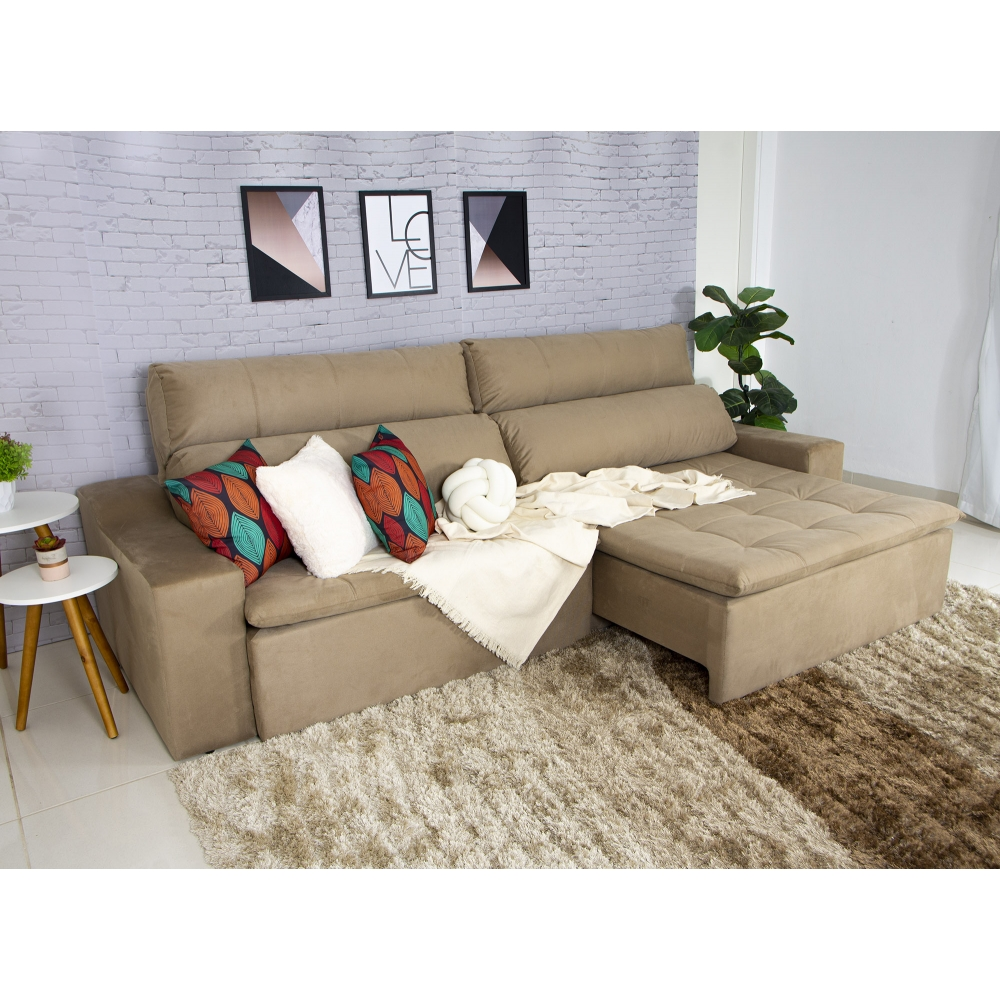 Foto 4 - Sofá 5 Lugares Connect 2,90m Retrátil e Reclinável com Pillow e Molas Veludo Bege
